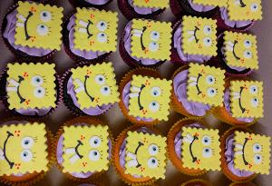 Cupcake's met spongbob gezichten