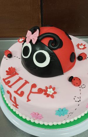 Verjaardagstaart met een lieveheersbeestje