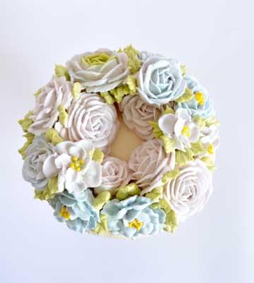 workshop taarten decoreren, bloemen taart, royal icing taart