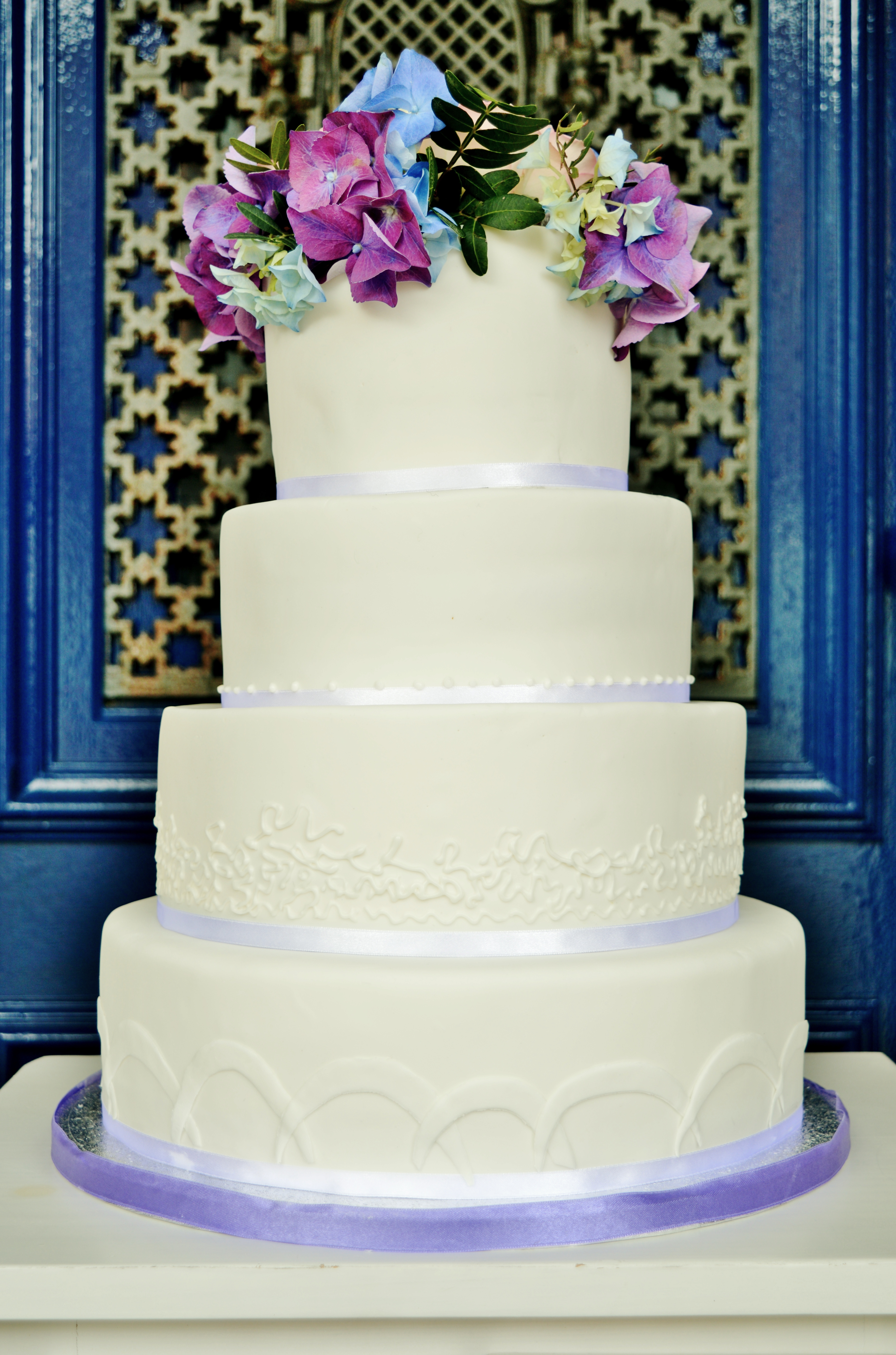 Hortensia sugar flowers Wedding cake