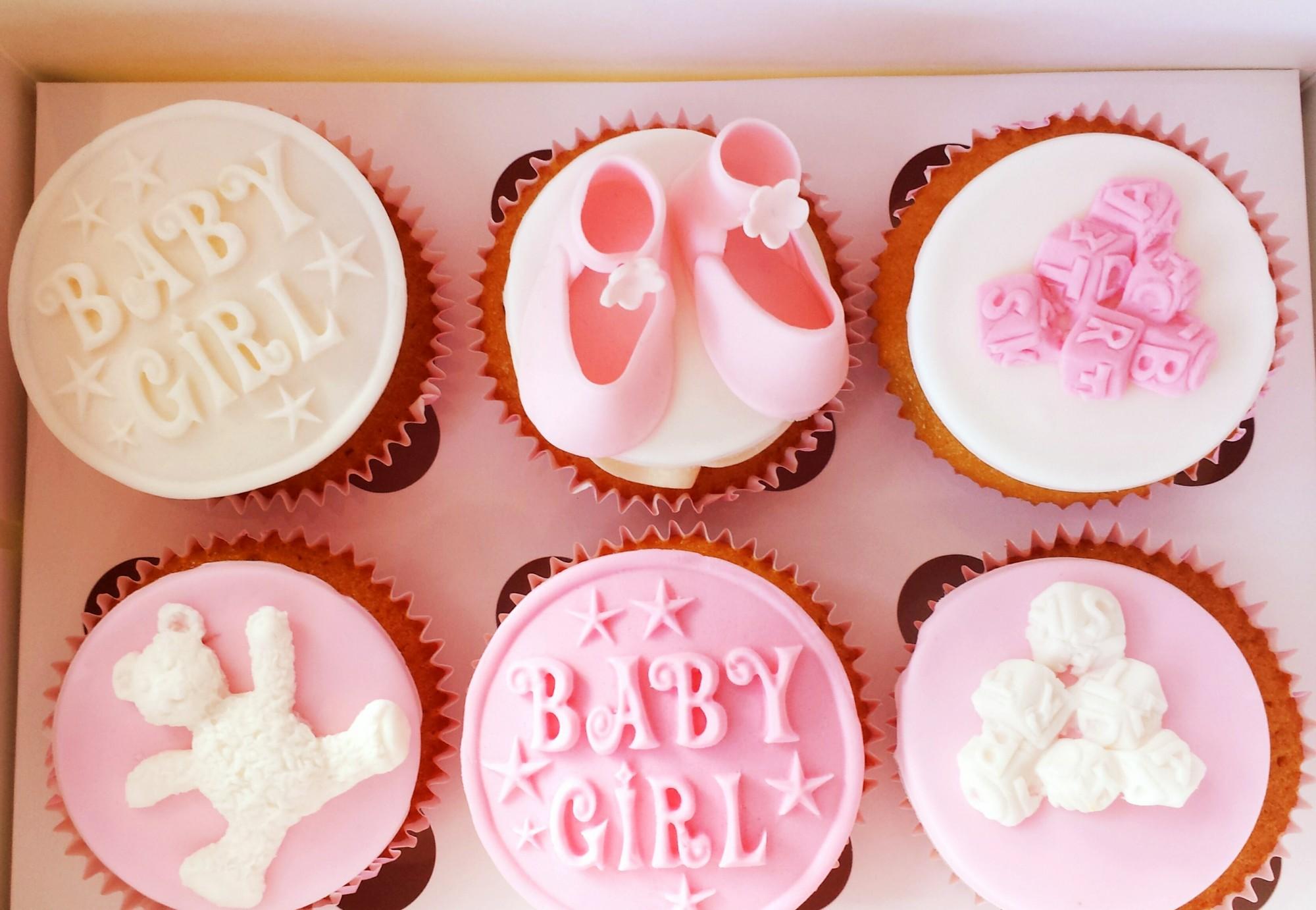 Baby-shower-cupcakes-roze, meisjes-cupcakes, roze-cupcakes