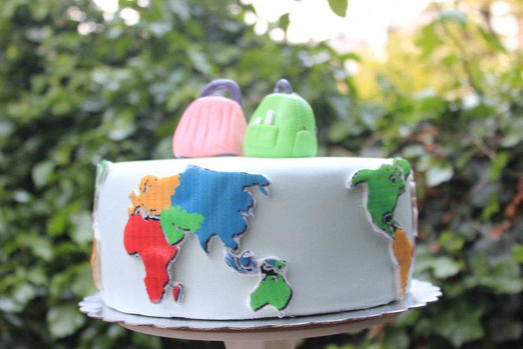 Wereldreis taart, travel cake, wereldmap taart den haag
