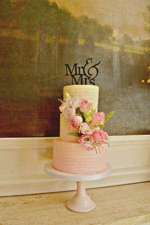 ombre botercreme bloemen taart