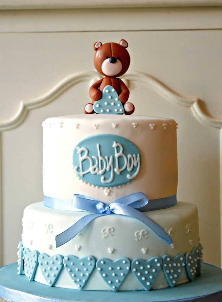 bruin beer 1ste verjaardag taart, babyshower brown bear blue and whitte cake, order babyboy blue cake