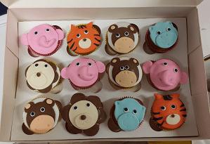 Cupcake's in de vorm van dieren gezichten