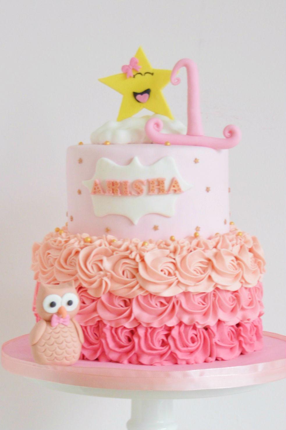 meisjes-taart-gele-ster-en-owl-roze-boemen-stapel-taart, 1st-birthday-girls-cakes-buttercream-ombre-yellow-stars