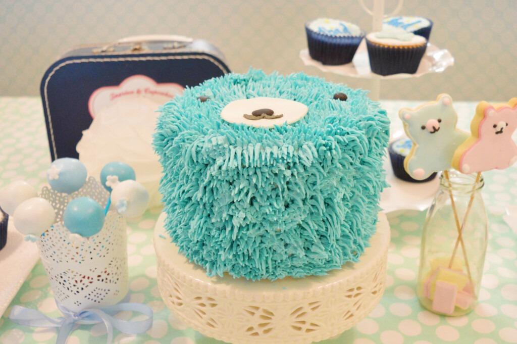 Babyshower blue taart bear, babyshower jongen taart bestellen, gender reveal taart bestellen