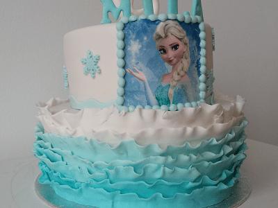Frozen verjaardagstaart met ruches en foto van Elsa