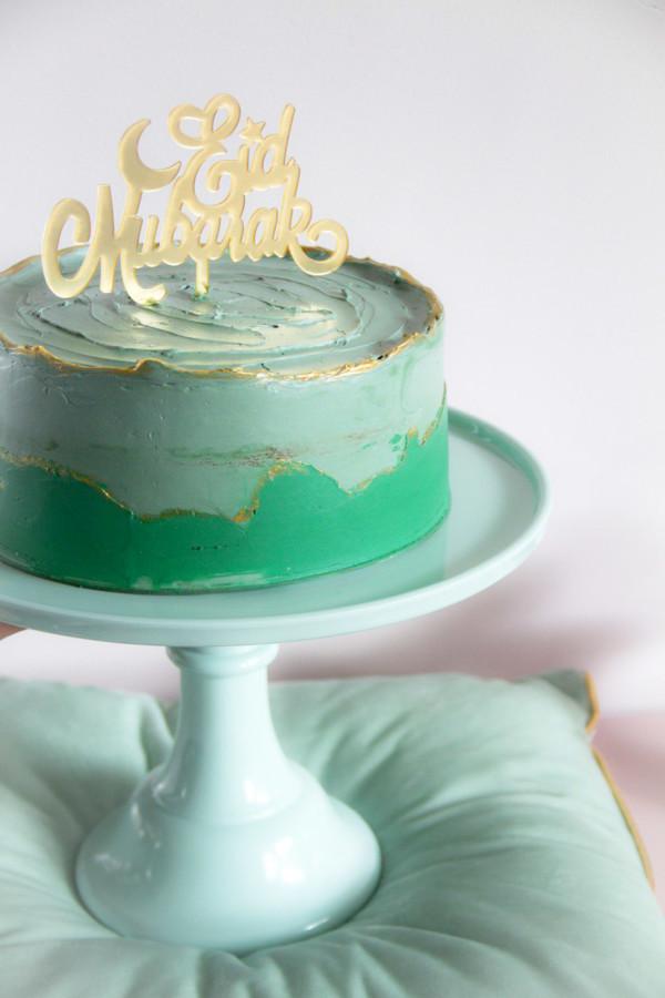 Ramadan-suiker-feest-groen-taart-goud-rand-taart-topper-goud-eid-moubarek