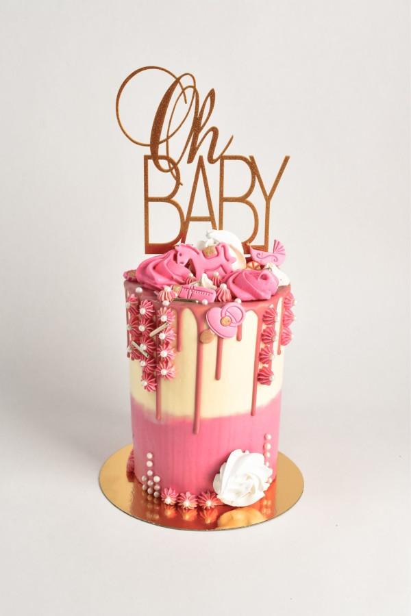 babyshower-taart-roze-drips-fondant-paardje-en-versiering-in -roze-en wit