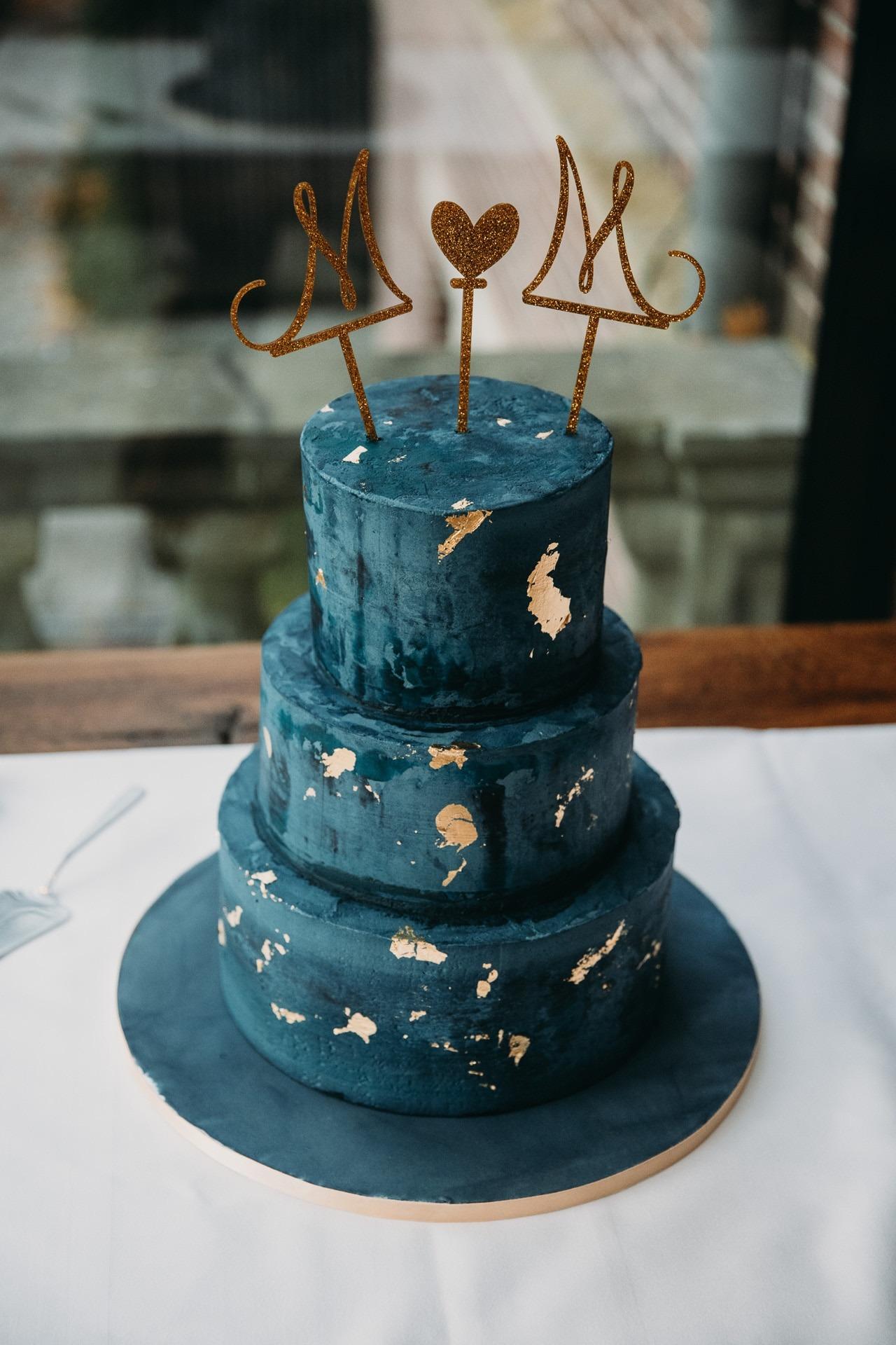 blauw-goud-bruidstaart