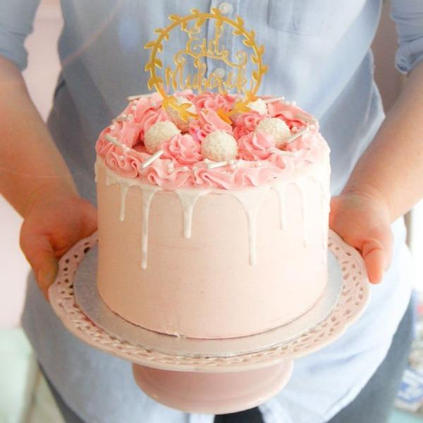 eid-mubarak-roze-taart-witte-drips