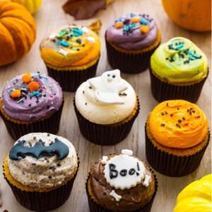 halloween-cupcakes-oranje-zwart-groen